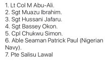 List of names of the 7 Military personnel buried today