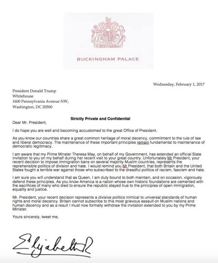An hilarious spoof letter from queen elizabeth to us president hits share this stopboris Choice Image