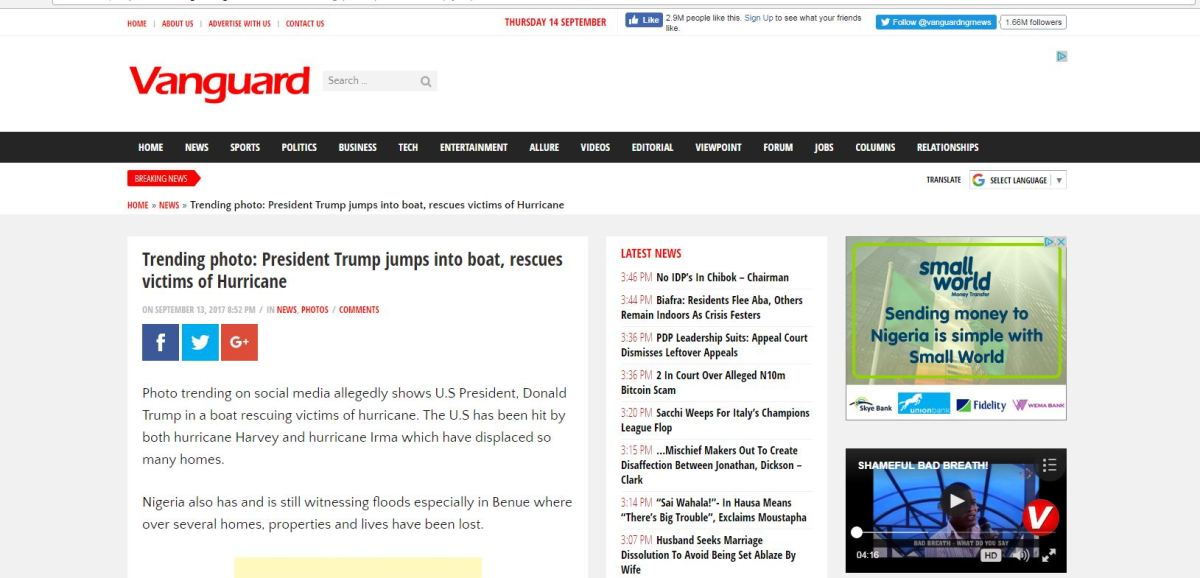 Nigerian Newspaper Posts Fake Photos Of Donald Trump Saving Victim From Flood