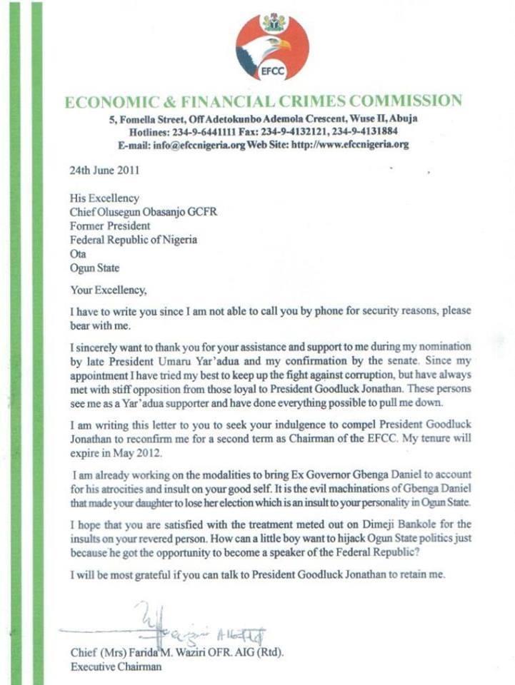 Image result for letter farida waziri to obasanjo