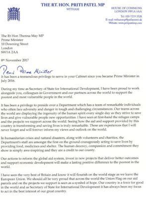 Priti's resignation letter
